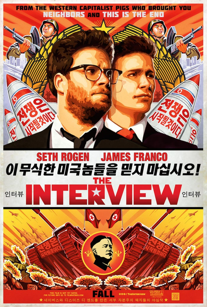 "In the movie, Rogen and James Franco play the producer and star of a celebrity tabloid TV show who unwittingly land an interview with North Korean dictator Kim Jong-un — and are recruited by the CIA to assassinate him.The poster, however, is filled with exactly the kind of anti-American propaganda slogans one could expect to find in North Korea. Along with the phrase ""Western capitalist pigs"" to describe Rogen and Goldberg, there are several comically provocative phrases in Korean."