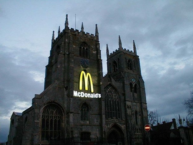 A survey by Sponsorship Research International of 7,000 people in six countries found that 88 percent could identify McDonald's famous arches, while only 54 percent could name the Christian cross.