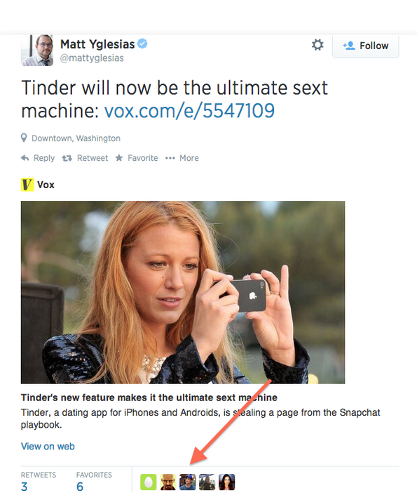 """The tweet is a link to the post on the website Vox about how dating app Tinder will allow """"Moments"""" enabling users to have pictures disappear they shared within 24 hours."""