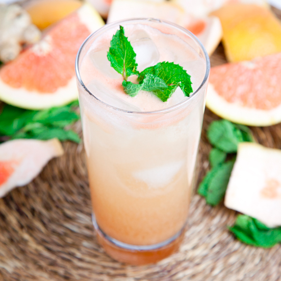 This version is sweetened with agave, spiked with rum, and topped with sparkling water and fresh mint. Get the recipe.