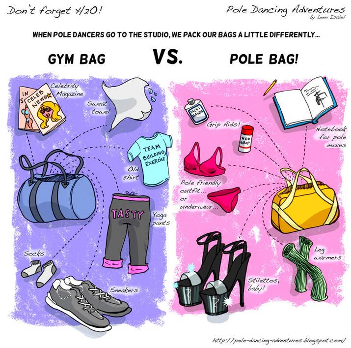 Your gym bag will be infinitely cooler because of the stripper shoes you  keep in them. 15 Truths About Pole Dancing