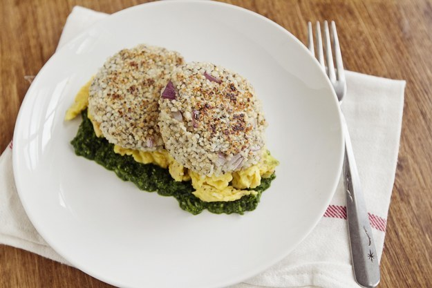 16. Quinoa Patties with Eggs and Spinach Pesto