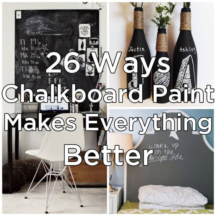 And in case you aren't familiar with chalkboard paint: It's a paint that you can draw on, and even make your own in various colors! It's pretty much a gift to interior design, and super fun to DIY.