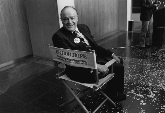 """Bob Hope (who BTW was born in London!) got his KBE """"in recognition of his contributions to film, to song, and to the entertainment of troops in the past."""" Hope is also one of a handful of honorary veterans of the US Armed Forces."""
