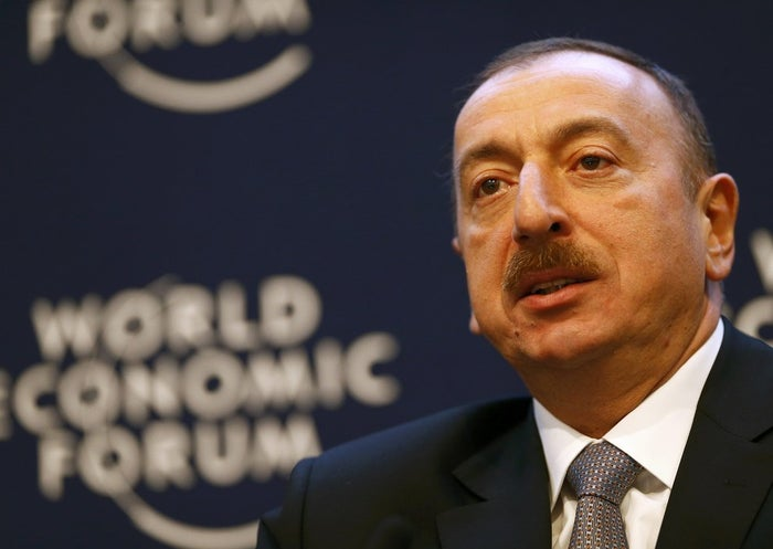 Azerbaijan's President Ilham Aliyev speaks during a session at the annual meeting of the World Economic Forum (WEF) in Davos in January.