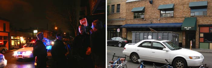 LEFT: Cops speak with frustrated audience members outside of the Blue Monk on March 1. RIGHT: The now-shuttered Blue Monk space on Belmont Street.