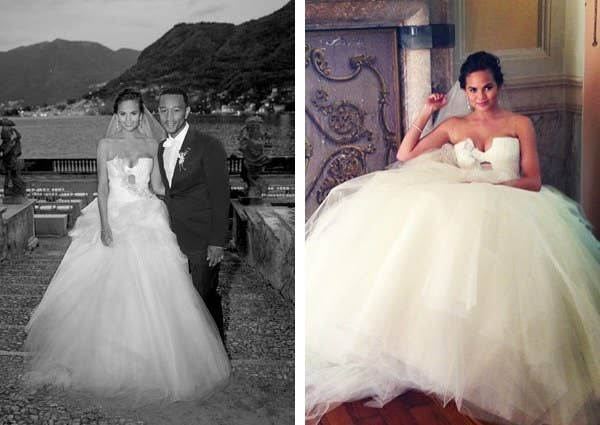 a02b3dc8fedb4 The model wore an ivory Vera Wang gown when she got married to singer John  Legend