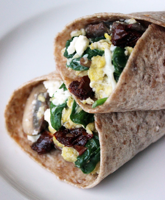 Scramble eggs with spinach and feta then wrap in a whole grain tortilla.