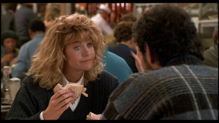 """Selling points: Meg Ryan. Billy Crystal. Written by Nora Ephron. 'Nuff said.Classic scene: You already know. The orgasm enactment in Katz's Deli.Classic quote: """"I'll have what she's having.""""Cool fact: A lot of the Harry-Sally moments (like the scene where they're both watching Casablanca) were actually inspired by real-life interactions between Billy Crystal and Rob Reiner (they're close friends)."""