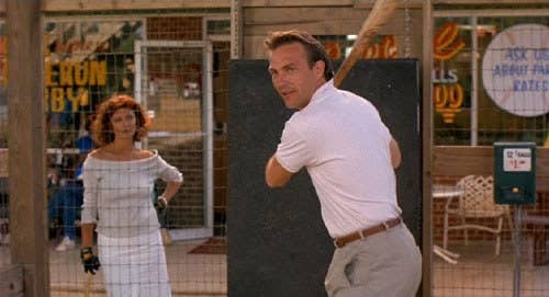 """Selling points: Way hot scenes between Susan Sarandon and Kevin Costner. #sorrynotsorry. Also, Sports Illustrated ranked it the #1 Greatest Sports Movie of all time.Classic scenes: The """"I believe"""" speech and the """"We're dealing with a lot of shit"""" scene on the mound.Classic quotes: """"From what I hear, you couldn't hit water if you fell out of a fucking boat!"""" and """"Candlesticks always make a nice gift.""""Cool fact: Those extras in the stadium stands? The filmmakers got 'em by going to a Pink Floyd concert and asking the band to invite their audience to the ballpark."""