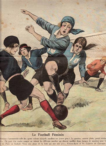 The earliest specific association between women and football comes from a mid-fifteenth century poem. This was a satire by the prolific East Anglian monk John Lydgate. In it the poet enlarged upon the attractions of 'my fair lady'. She wore a green hood and had two small breasts squeezed together so they appeared like a large camping ball (East Anglian dialect for football).