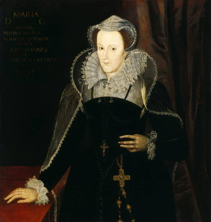 """By the sixteenth-century, women's involvement in football had moved beyond associations between their breasts and the ball, to a spectator scene. The most famous sixteenth-century female football spectator was Mary, Queen of Scots. In the 1970s a ball made of leather and inflated with a pig's bladder was discovered in the rafters of the Queen's Chamber, Stirling Castle. It is now proudly displayed in the Stirling Smith Art Gallery and Museum. It's claimed to be """"the Oldest Football in the World"""" – although archaeologists at Winchester have dug up two leather balls (roughly the size of modern tennis balls) that are about five hundred years older. To say Mary's reign was a disaster would be an understatement. Indeed, she was eventually executed. But in June 1568 having abdicated and fled to England she watched a football match on a """"playing-green"""" somewhere between Carlisle Castle and the Scottish border. The game involved about twenty of her retinue, who played for 2 hours """"very strongly, nimbly and skilfully""""."""