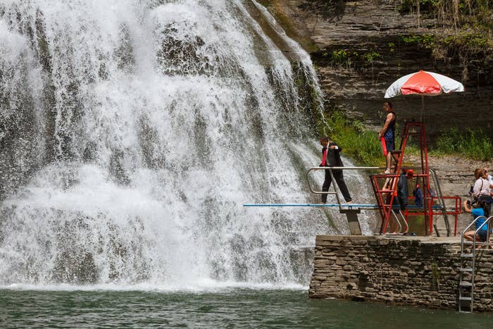 You may have noticed. This is Robert H. Treman State Park in Ithaca, NY. They allow swimming whether or not you're dressed to impress.