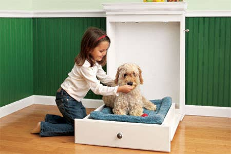 "If minimalism and smugly/telepathically saying, ""I don't want to be a burden..."" is your pup's thang, whip up one of these fold-up beds with our step-by-step instructions. Next you dog will want his own leash rack. WE GOT YOU."