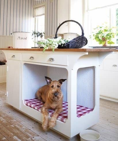 Sorry kids, there's no room for you in the kitchen during dinner prep. And don't even try to hover around the kitchen island and do your homework.Can't spring for a fawn-cy kitchen island for your dog? Cure his FOMO by building a snazzy dog-feeding station instead.
