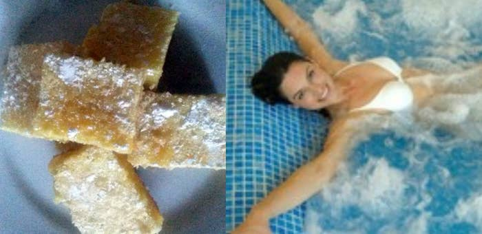 These Lemon Bars look suspiciously like this Bulgarian woman relaxing in a hot tub.