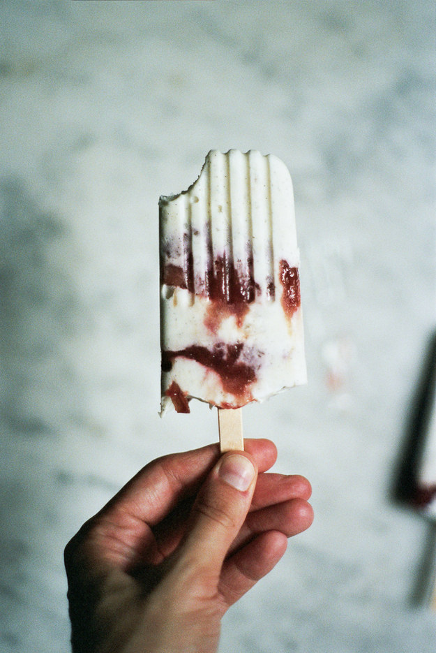 Caramelized Rhubarb and Yogurt Ice Pops