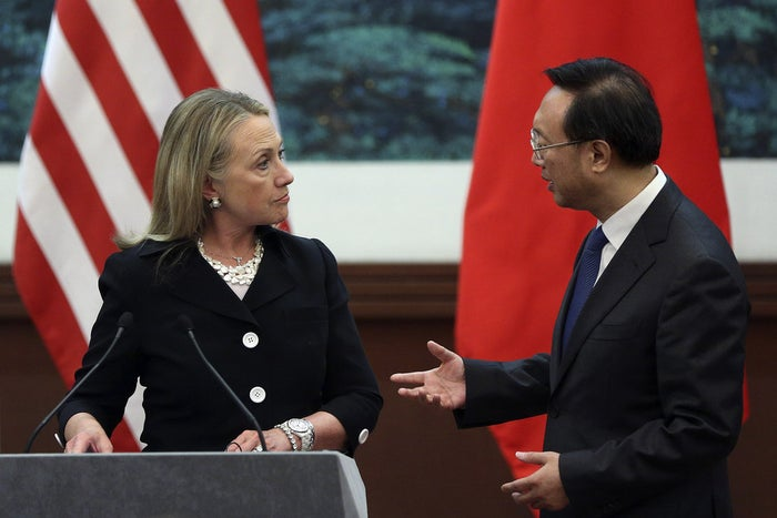 Hillary Clinton, then secretary of state, talks with with Chinese Foreign Minister Yang Jiechi during a joint Beijing press conference in 2012.