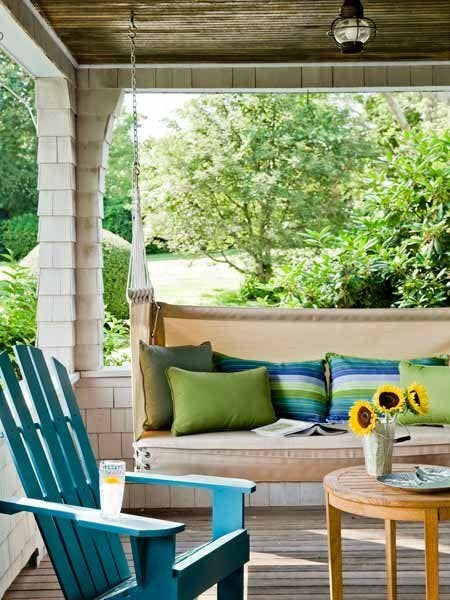 If there's no swing on your porch, you're doing porches wrong. Hang one like the York Harbor Porch Swing by Penobscot Bay shown here, or channel your inner carpenter and assemble one from a DIY kit. You'll learn the strongest, safest way to hang it at that last link, too.