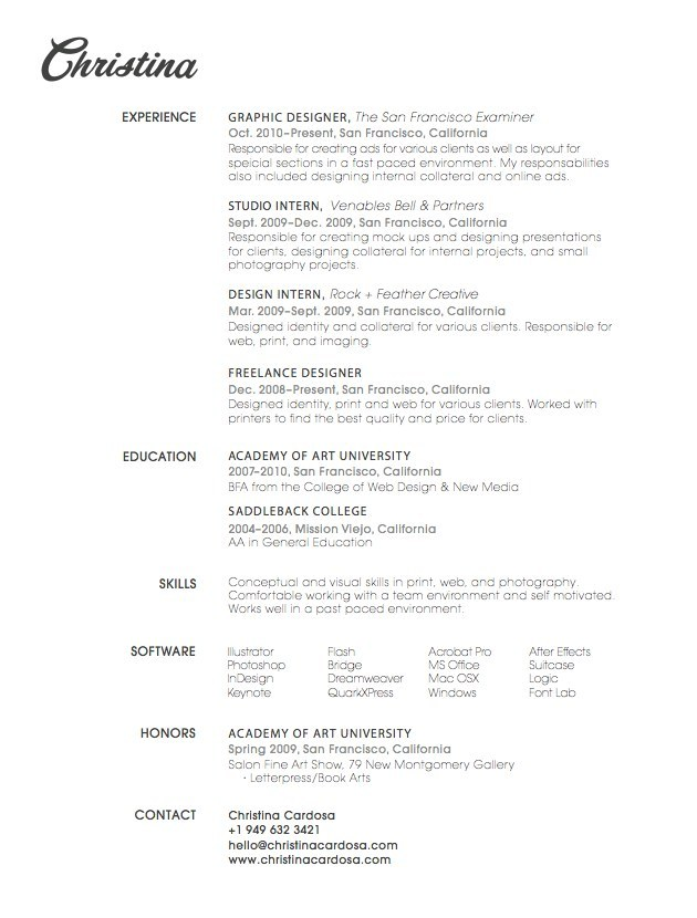 Sometimes All You Need Is One Quirky Font.  Good Resume Design