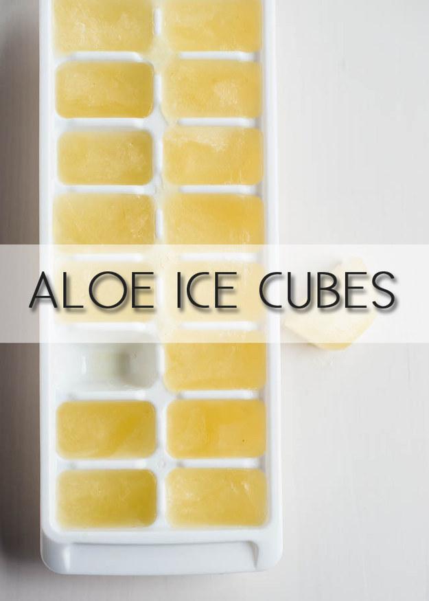 Freeze aloe vera in ice cube trays for sunburn relief.