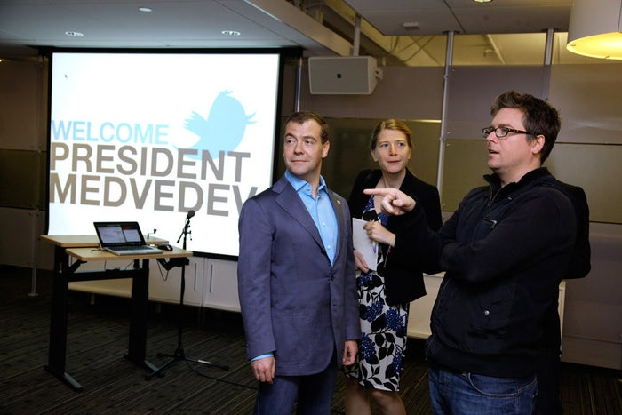 Russian Prime Minister Dmitry Medvedev visited Twitter headquarters while he was president in 2010.