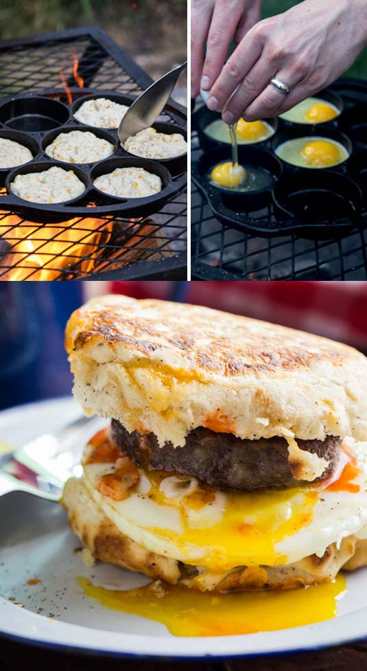 This recipe starts with an easy DIY biscuit mix that you pre-make at home. (Then at the campsite, just add water and heat.) You can also sub in English muffins. Get the recipe.