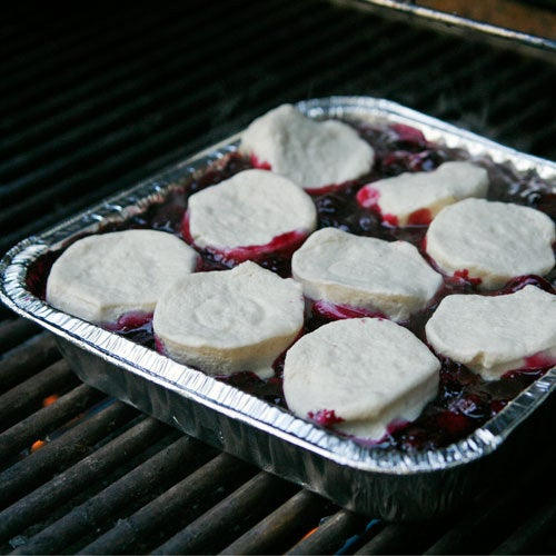 So easy: Toss blueberries on the grill, then add biscuit dough and cover everything up. The biscuits will brown, the blueberries will warm, and all will be right in the world. Get the recipe.