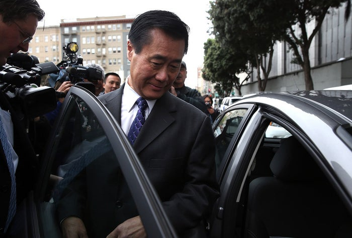 California State Sen. Leland Yee gets into an awaiting car as he leaves the Phillip Burton Federal Building after a court appearance on March 31 in San Francisco.