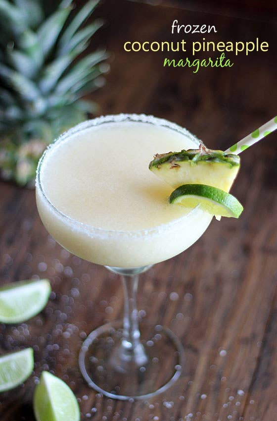 pina colada frozen concentrate mixer + tequila + pineapple juice + lime + ice + kosher salt. Get the recipe.