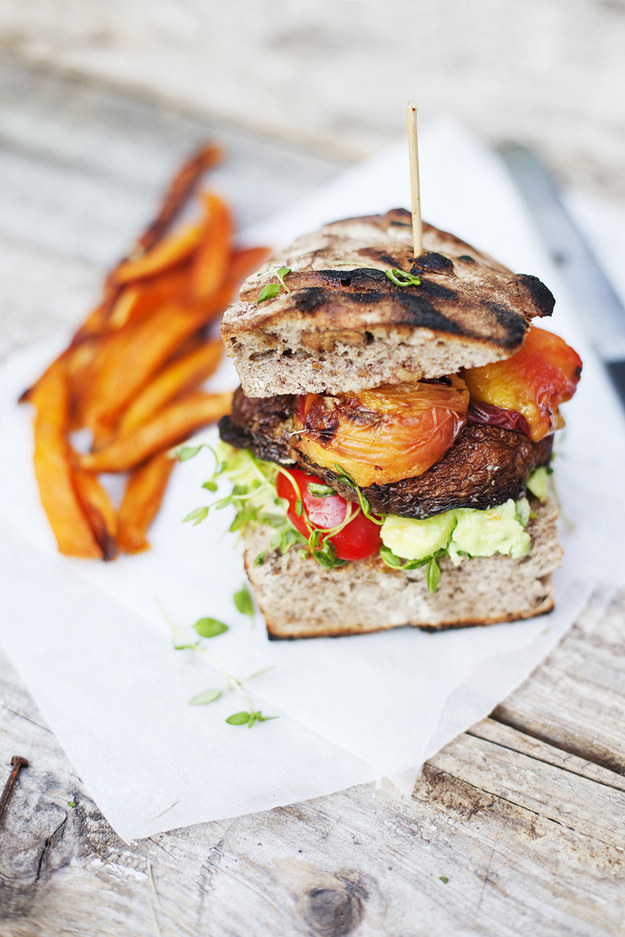 Portobello and Peach Burgers