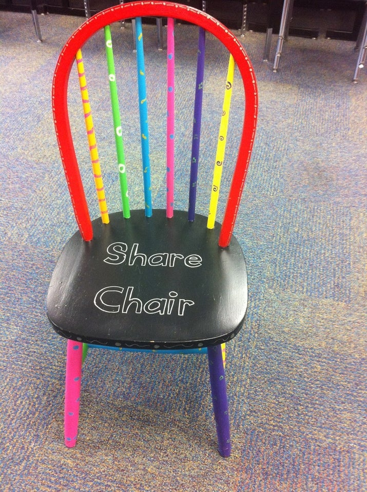 A decorative share chair in your classroom will get students excited about sharing their work with their classmates