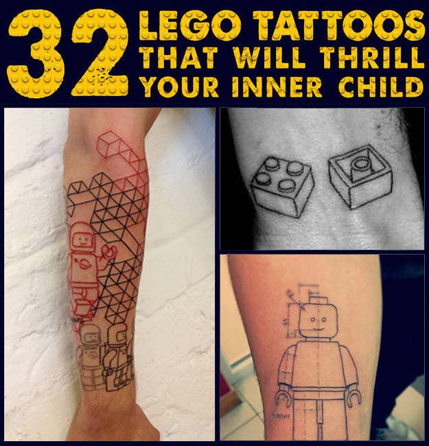 32 lego tattoos that will thrill your inner child share on facebook share malvernweather Choice Image