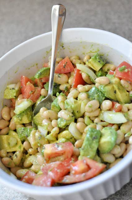Make this for yourself, get more than 25g of protein. Or split it with a friend, serve with two slices of whole wheat toast (4g/protein each), and get 20g. Win/win. Recipe here.