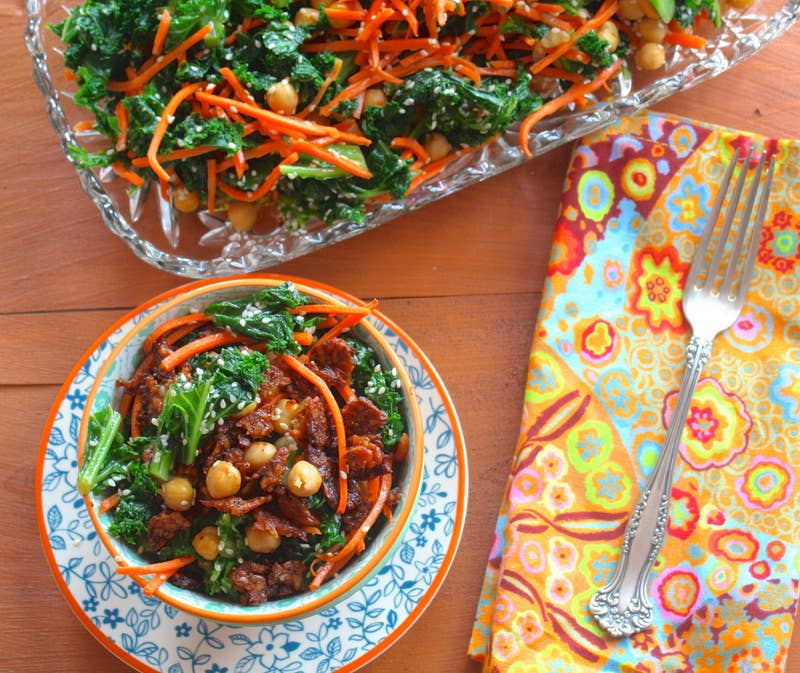 Between the tempeh, the chickpeas, and the kale, you'll get more than 19 grams of protein in each bowl. Recipe here.