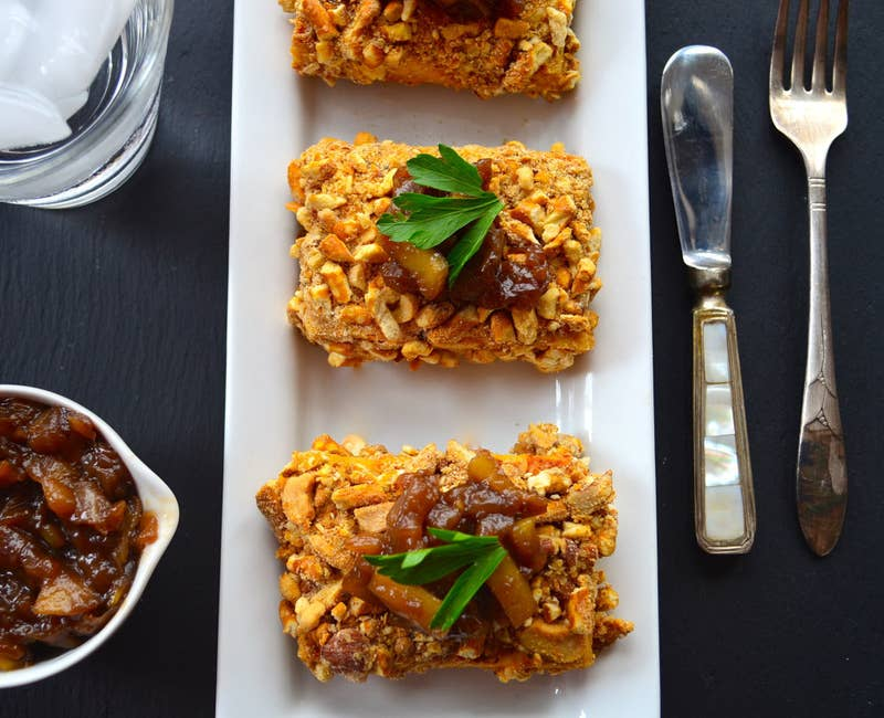 This entrée isn't just pretty to look at: The tofu, cashews, and whole wheat flour mean it has more than 20g of protein in each serving. Recipe here.