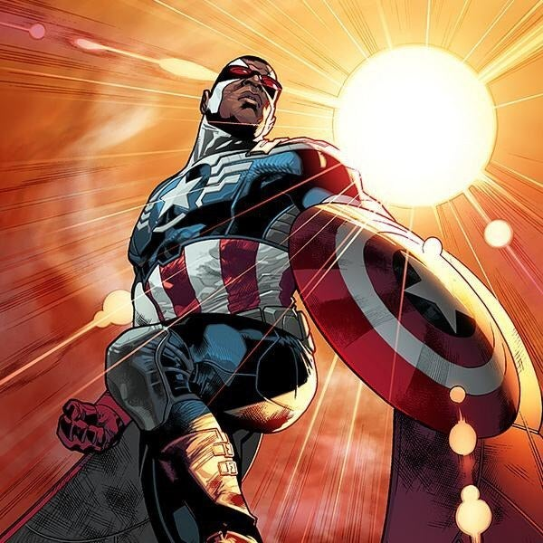"After original Captain America Steve Rogers has his super serum sucked out of his body, thereby losing his super-soldier abilities and instantly aging some six decades — because comic books — Rogers' longtime friend Wilson will take up the mantle of Captain America in a new Marvel Comics title out this fall, All-New Captain America, written by Rick Remender with art by Stuart Immonen.This is the second major announcement of a change to Marvel's roster of superheroes this week, after the company's reveal that the new Thor will be a woman on The View early Tuesday. In fact, as reported by Entertainment Weekly, the new Cap is part of larger, ongoing changes among the Avengers called ""Avengers NOW!"" — including a reimagined suit for Tony Stark's Iron Man.Like with the new female Thor, Quesada stressed that this will only affect the comics — for now, Chris Evans will continue to play Captain America in the Marvel Studios films.While there were hints that a new Captain America would be African-American leading up to Wednesday's announcement, also like with the new Thor, the change is still likely to cause controversy among comics fans. In the more than 70-year history of Captain America, characters other than Steve Rogers have carried Cap's shield, but this is the first time a black character has officially taken on the role of Captain America. (Isaiah Bradley, a black character who was subjected to super soldier testing during WWII, never replaced Steve Rogers as the only official Captain America, but some still consider him the first black Cap.)""I think that it's important with these stories to do things that are natural and make sense and have an inherent logic to the universe, but are also constantly shifting and exciting, keeping the drama high,"" said Remender on Marvel.com. ""In order to do that it really comes down to creating new dynamics. … For most of his professional life, Sam has worked as a social worker, so he's seen the worst of urban society up close, and how crime, poverty, lack of social structure and opportunity can affect the community. So he's got perhaps a greater focus on the plight of the common man, and perhaps a greater empathy for the underprivileged than maybe even Steve himself.""Colbert also addressed the historic change with Quesada on his show, joking, ""Doesn't that make him Captain African-American?""""I don't see colors,"" Quesada responded.""If you don't see colors,"" responded Colbert with a smile, ""how do you do comic books?"""