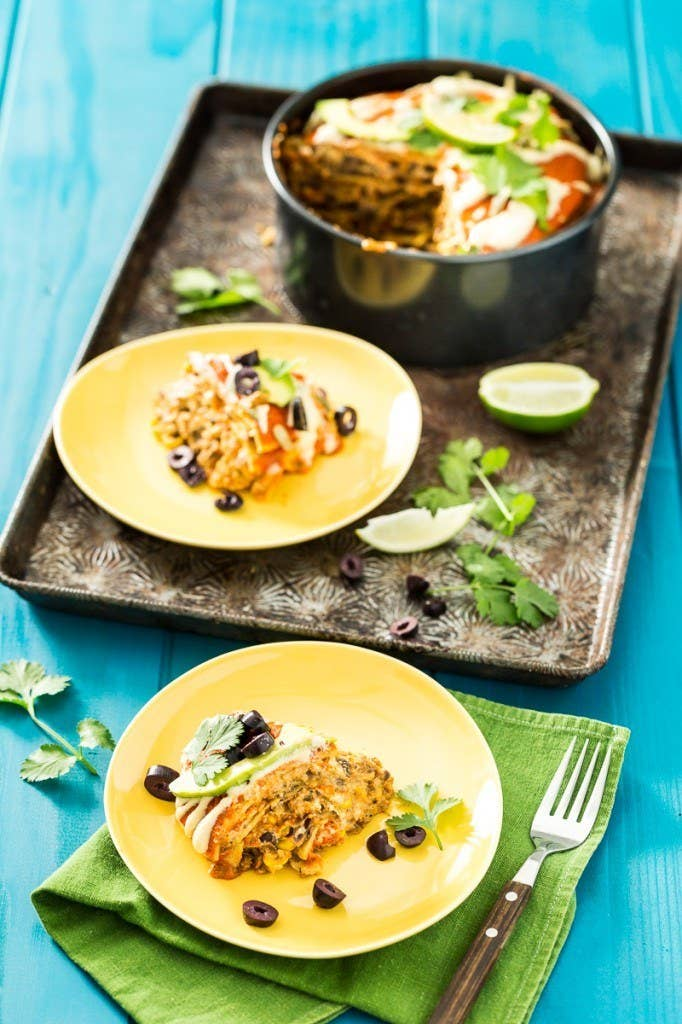 Between the cashews, black beans, veggie crumbles, and corn, this dish is like a vegan protein dream, with at least 20 grams of protein in each serving, depending on portion size. Recipe here.