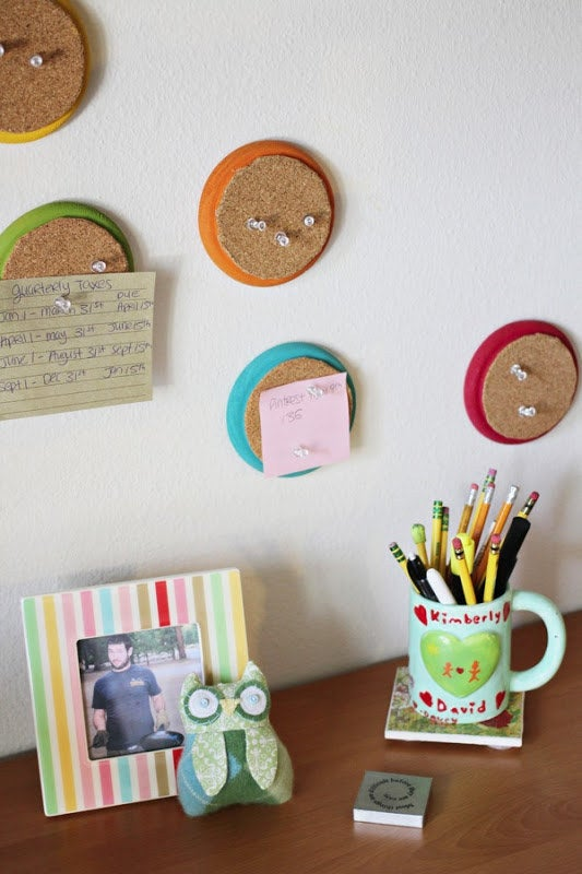 Large corkboards can take over a dorm room, but not these. Find the DIY here.