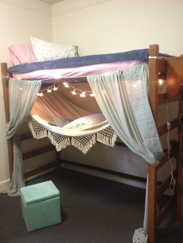 how to hang curtains under dorm bed 3