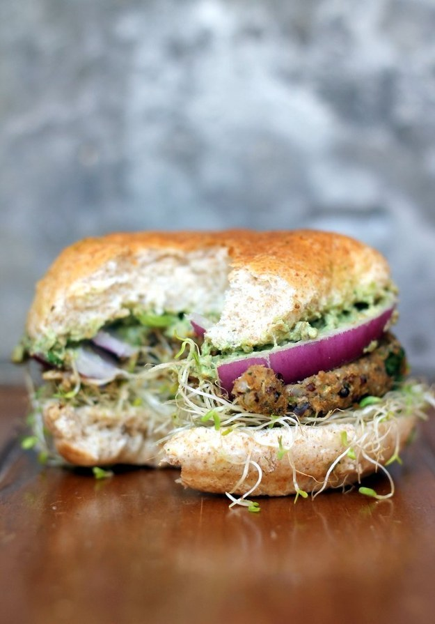 Spicy Sweet Potato Black Bean Burgers with Avocado-Cilantro Crema and Sprouts