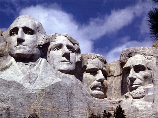 Mount Rushmore is nestled in the Black Hills of South Dakota. Its imperial elegance attracts almost 3,000,000 tourists a year. The ponderosa pine trees create a sweet smell in the air during the cool summer evenings.