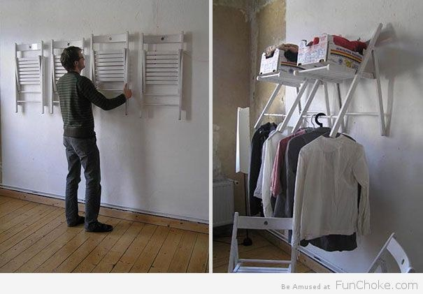 No storage space? No problem! Hang some chairs on the wall to create a make-shift closet.