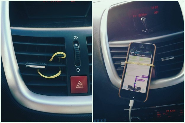 Use a rubber band to mount your cell phone in your car.
