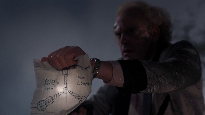 That scene where Doc showed Marty the drawing of the flux capacitor?