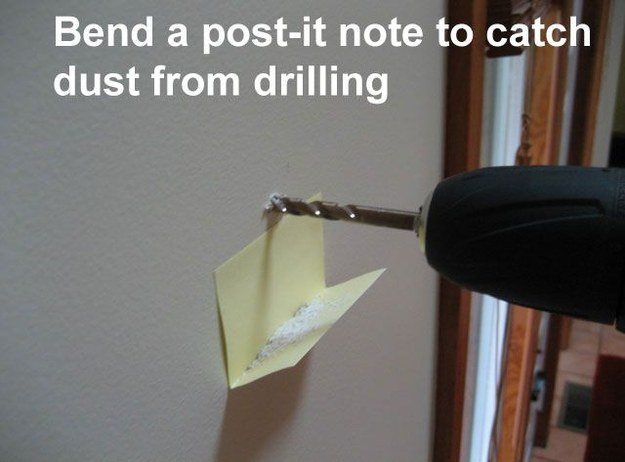 Avoid making a mess when drilling with a Post-it note.