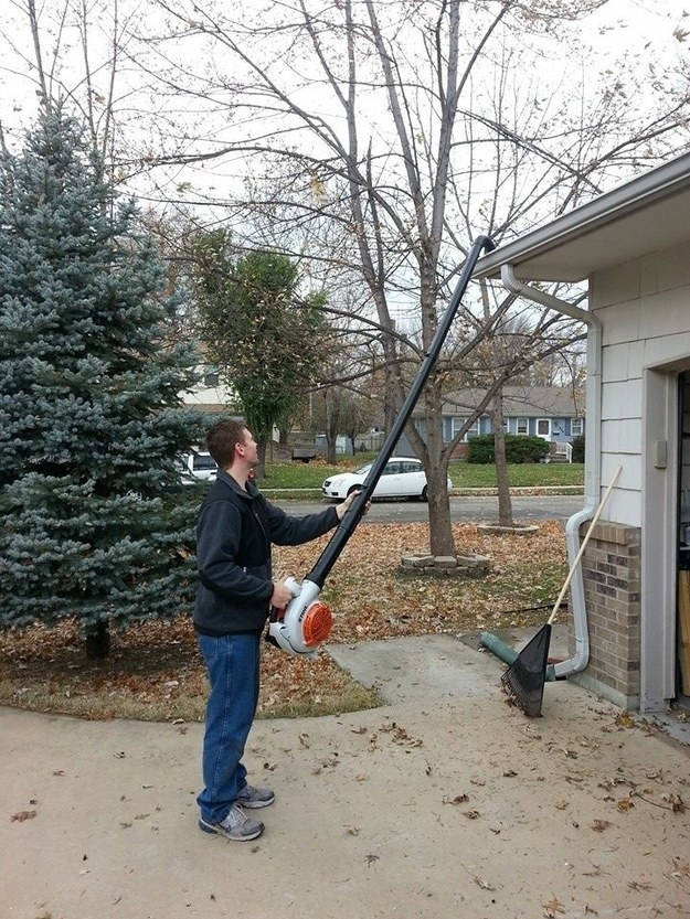 Attach PVC pipe to your lawn blower so you can clean out your gutter with your feet firmly planted on the ground.