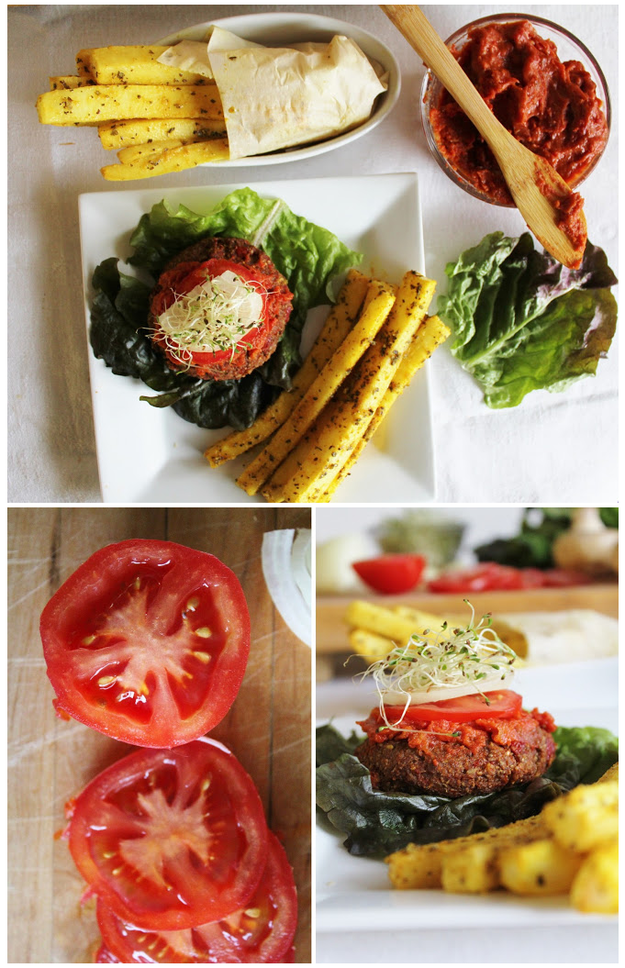 Vegan Raw Yam Burgers & Daikon Fries with Ketchup