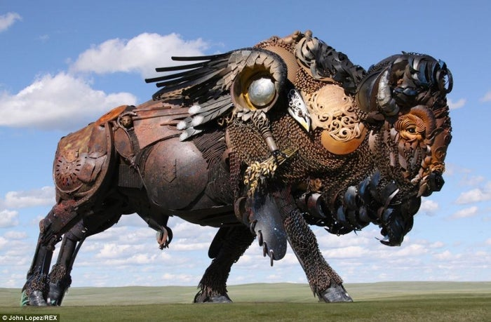 John Lopez, 43, is an American sculpture who began experimenting with scrap sculptures after his aunts death. Living in a farm in the small town of Lemmon, North Dakota, there was already enough abandoned machinery around him to spark his inspiration to mold them together in fantastic, full size animal sculptures.