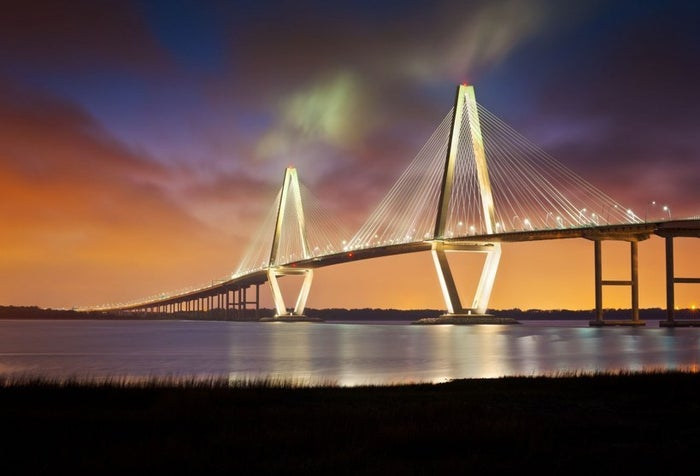 The Ravenel Bridge is an illustrious Charleston landmark. And each spring, 35,000 runners from all over the world come to Charleston to run across it for the Cooper River Bridge Run 10k race.
